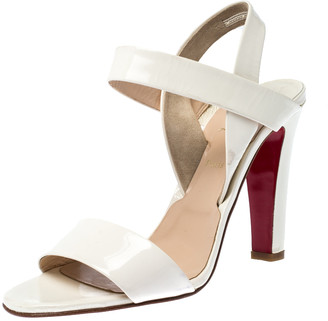Christian Louboutin White Patent Leather Open Toe Ankle Strap Sandals Size 41