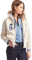 Gap Plaid logo sherpa zip hoodie