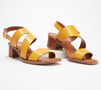 Franco Sarto Leather Heeled Sandals w/ Asymmetrical Strap - Lilah