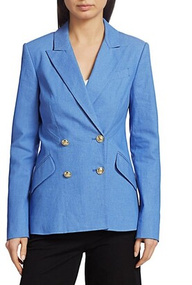 Rodeo Double-Breasted Stretch-Silk Jacket