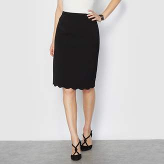 Anne Weyburn Crepe Pencil Skirt with Scalloped Detail