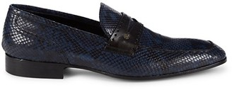 Roberto Cavalli Snakeskin-Embossed Leather Penny Loafers