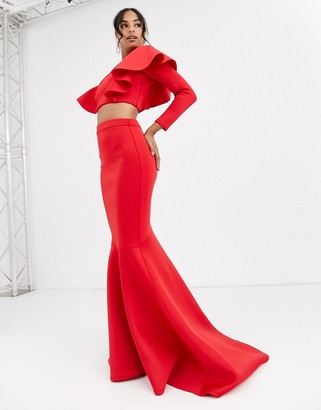 True Violet Black Label fishtail maxi skirt in red