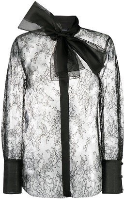 Emporio Armani Lace Overlay Pussy Bow Blouse