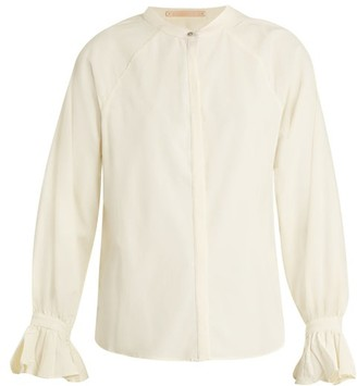 Bliss and Mischief Ruffled-cuff Poplin Blouse - Womens - Ivory