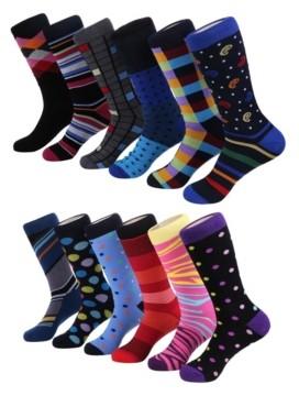 Mio Marino Men's Bold Designer Dress Socks Pack of 12