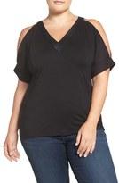 MICHAEL Michael Kors Plus Size Women's Faux Leather Trim Cold Shoulder Top