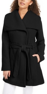 Madden-Girl Juniors' Asymmetrical Belted Wrap Coat