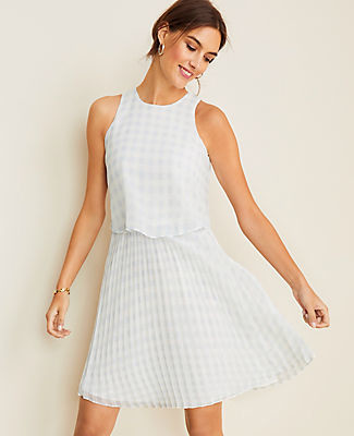 Ann Taylor Petite Gingham Overlay Pleated Flare Dress