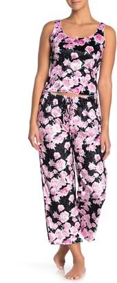 Blue Moon Pink Star Crushed Velvet Floral Print Pajama Pants