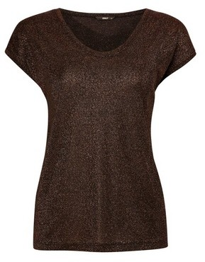 Dorothy Perkins Womens Only Gold Short Sleeve Top, Gold