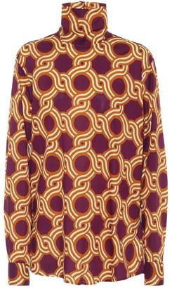 Dries Van Noten Printed cotton turtleneck blouse