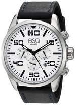 ESQ Men's Multifunction Stainless Steel Watch w/ Leather Strap FE/0020