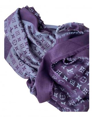 Louis Vuitton Chale Monogram shine Burgundy Wool Scarves