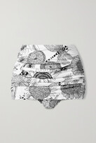 Thumbnail for your product : Norma Kamali Bill Ruched Printed Bikini Briefs - White