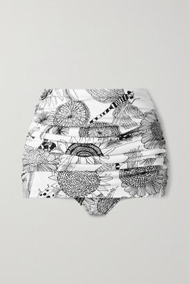 Norma Kamali Bill Ruched Printed Bikini Briefs - White