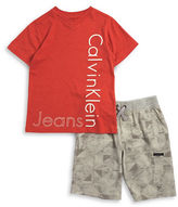 Calvin Klein Jeans Boys 2-7 Little Boys Logo Tee and Geometric Shorts Set