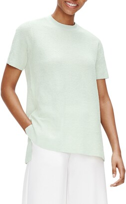 Eileen Fisher Mock Neck Linen Blend Short Sleeve Tunic Sweater