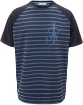 J.W.Anderson indigo JWA anchor and stripes short sleeve raglan t-shirt