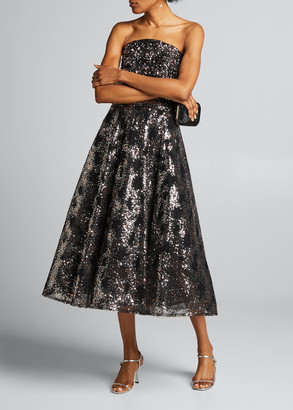 Pamella Roland Strapless Metallic Sequined Tea-Length Dress