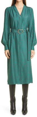 Lafayette 148 New York Clementine Belted Long Sleeve Silk Midi Dress