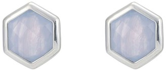 Katie Belle Rosina Sterling Silver Hexagon Gemstone Stud Earrings - Blue Lace Agate