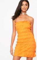 PrettyLittleThing Bright Orange Cotton Ruched Bodycon Dress