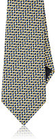 Ermenegildo Zegna Men's Silk Jacquard Necktie-YELLOW, NAVY, LIGHT BLUE