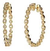 Yellow Gold Diamond Inside Out Hoop Earrings