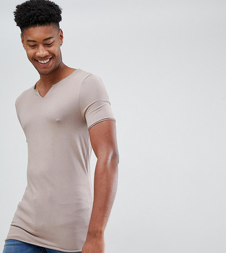BEIGE ASOS DESIGN Tall muscle fit raw notch neck t-shirt in
