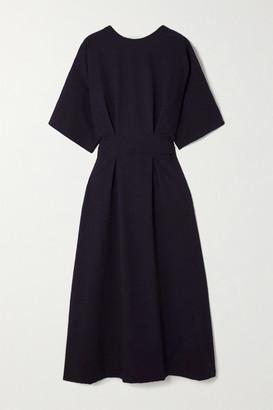 LVIR Reversible Belted Cloque Midi Dress - Navy