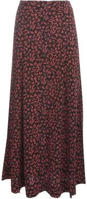 Ganni Printed Crepe Long A Line Skirt