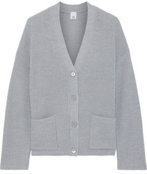 Iris & Ink Bluebell Ribbed Merino Wool-blend Cardigan