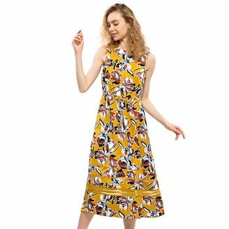 CIZITZZ Women's Summer Dresses Sleeveless Midi Dress Floral Knee Length Casual Racerback Tank Bodycon Dress Yellow