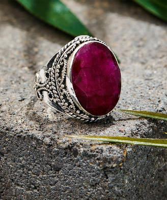 Ys Gems YS Gems Women's Rings Red - Ruby & Sterling Silver Filigree Statement Ring