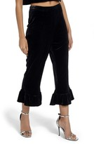 Missguided Women's Ruffle Hem Velvet Crop Pants