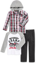 Nannette Little Boys' Woven Hooded Shirt, Long Sleeve Tee, and Pants 3pc Set