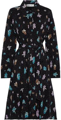 Diane von Furstenberg Dory Printed Stretch-mesh Shirt Dress