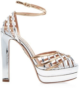 Aquazzura Kira Metallic Leather Platform Sandals