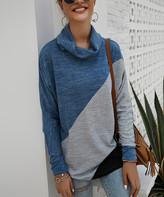 Gaovot Women's Blouses blue - Blue & Gray Color-Block Cowl-Neck Top - Women