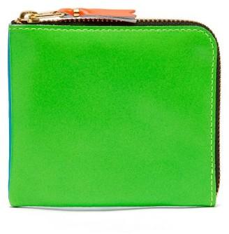 Comme des Garcons Zip-around Bi-colour Leather Wallet - Mens - Blue Multi