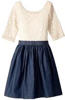 Fiveloaves Twofish fiveloaves twofish Katherine Dress (Little Kids/Big Kids) (Ivory/Denim) Girl's Dress