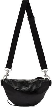 MM6 MAISON MARGIELA Black Faux-Patent Two-Compartment Bum Bag