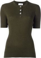 Courreges ribbed knit T-shirt - women - Cotton/Cashmere - 2