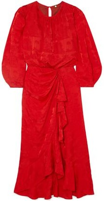 Johanna Ortiz Cuentos Y Relatos Ruffle-trimmed Silk-satin Jacquard Midi Dress