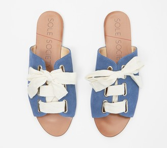 Sole Society Suede Lace-Up Slide Sandals - Marinn