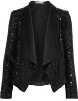 Alice + Olivia Warren Satin-trimmed Sequined Gauze Blazer