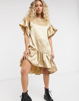 Vila satin smock dress in camel