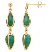7 Carat Emerald 14K Yellow Gold Earrings