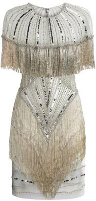 Jovani Illusion Beaded Mini Dress
